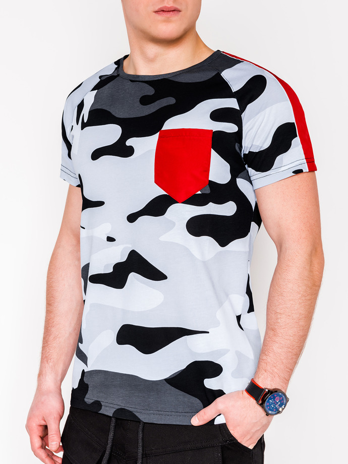 Men's camo printed t-shirt S948 - grey/camo