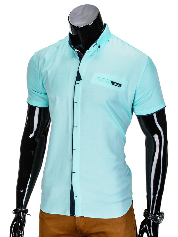 Short-sleeved men's shirt K337 - turquoise