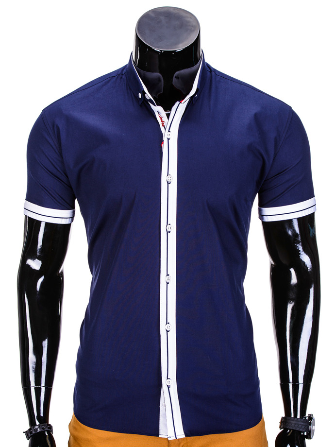 Short-sleeved men's shirt K340 - navy