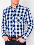 Men's check shirt with long sleeves K282 - blue