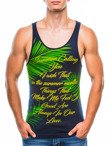 Men's printed tank top S825 - navy