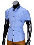 Short-sleeved men's shirt K342 - blue