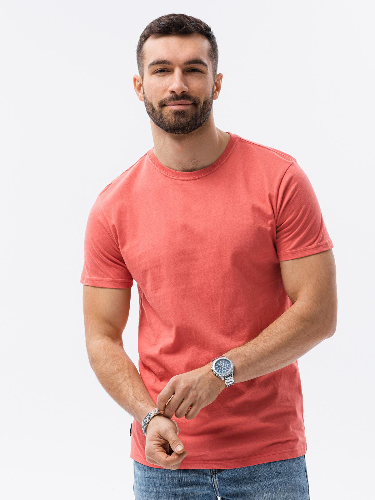 Levně Pánské tričko bez potisku S1370 - korálová