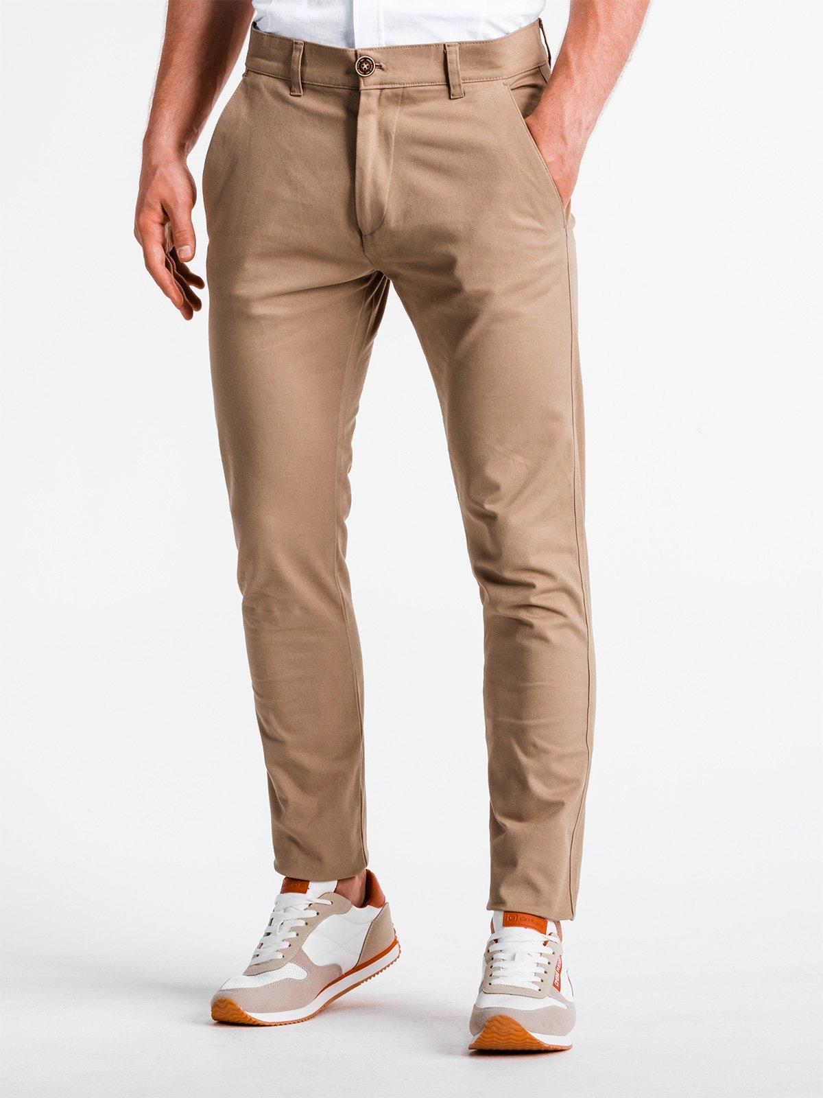Levně Pánské chinos kalhoty P830 - béžové