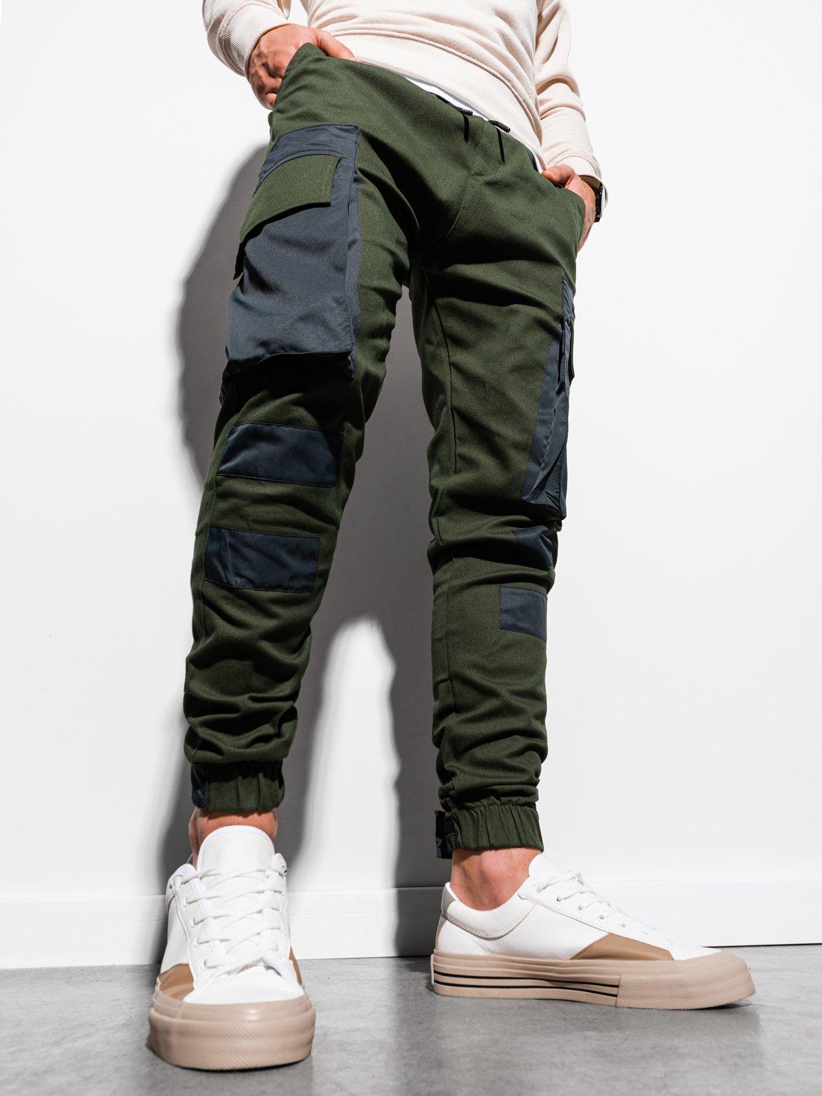 Levně Pánské jogger kalhoty P998 - khaki