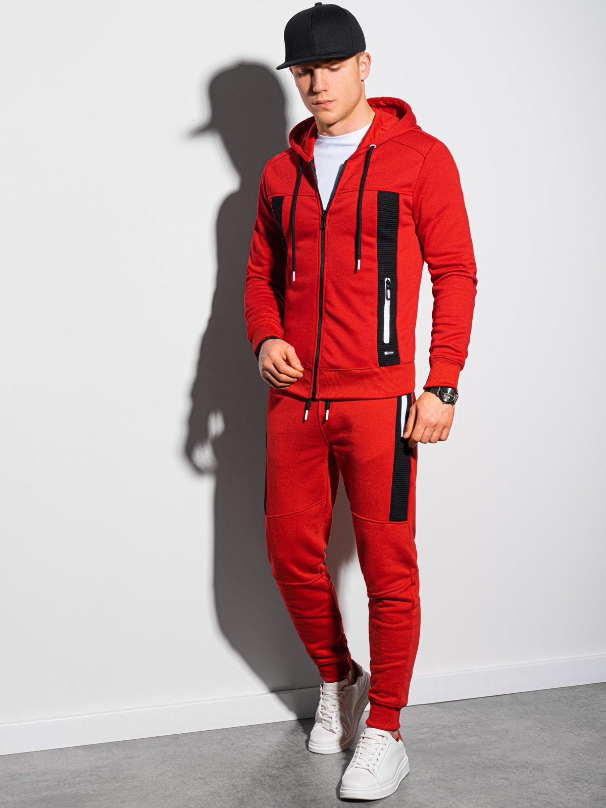 Levně Pánský set mikina + kalhoty Z25 - červená