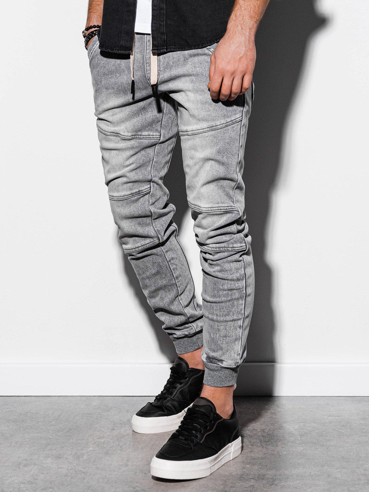Levně Pánské riflové jogger kalhoty P551 - šedé