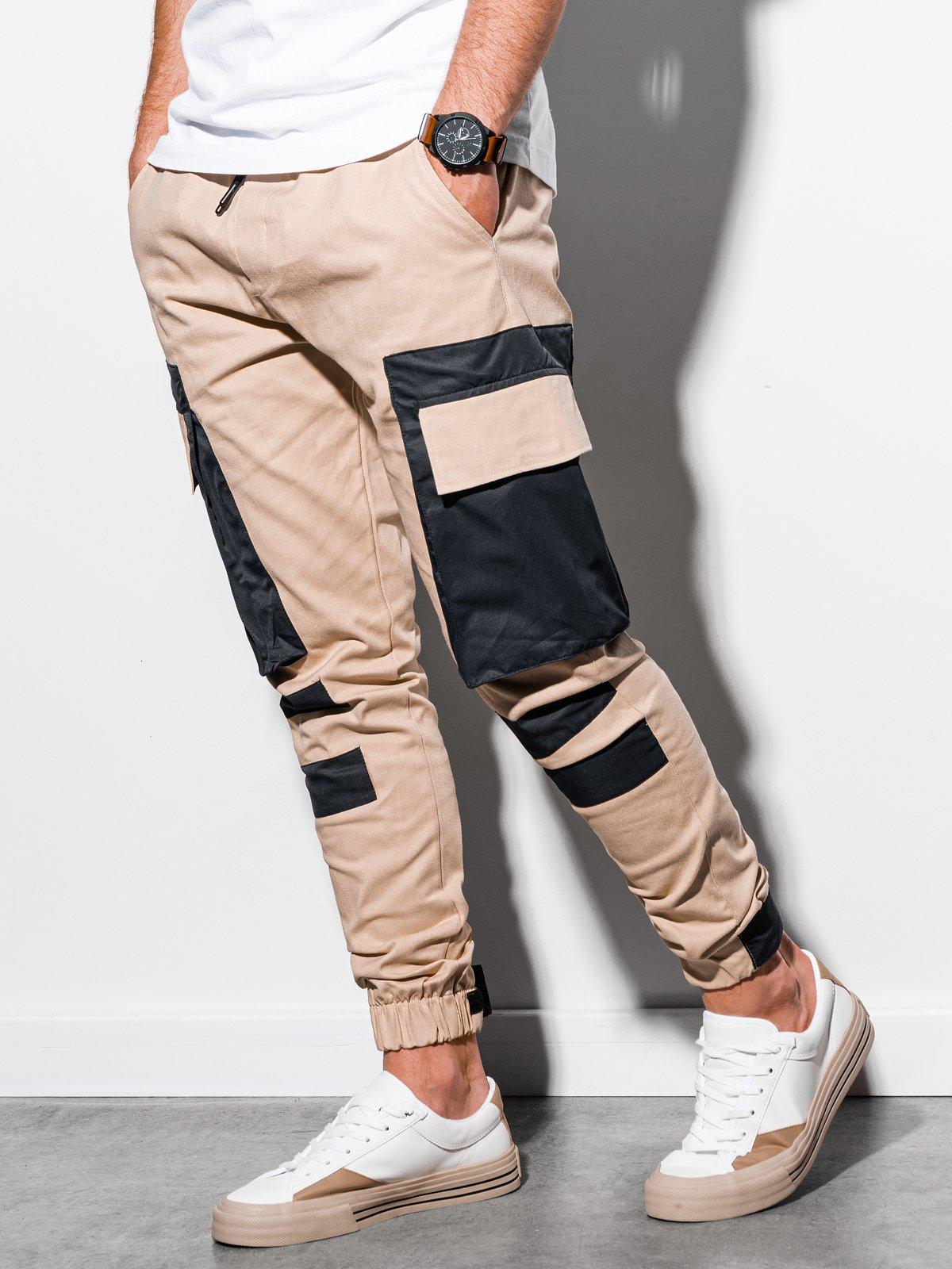 Levně Pánské jogger kalhoty P998 - béžová