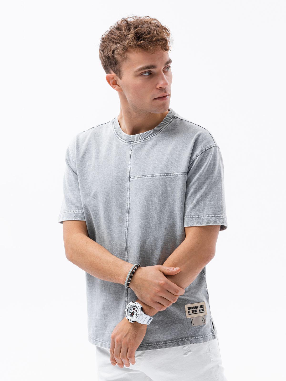 Levně Pánské tričko bez potisku S1379 - šedá