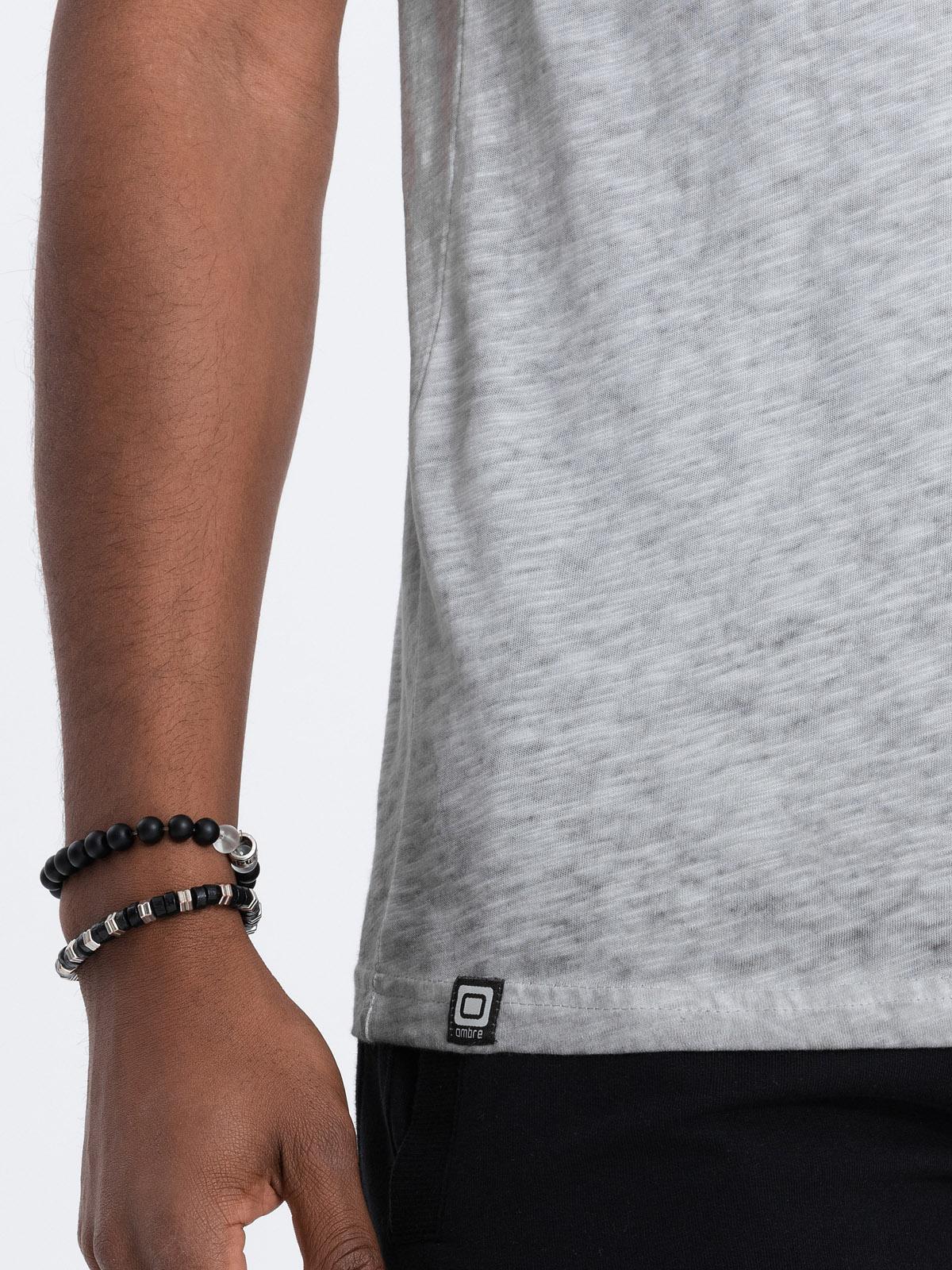 Levně Pánské tričko bez potisku S1388 - šedá