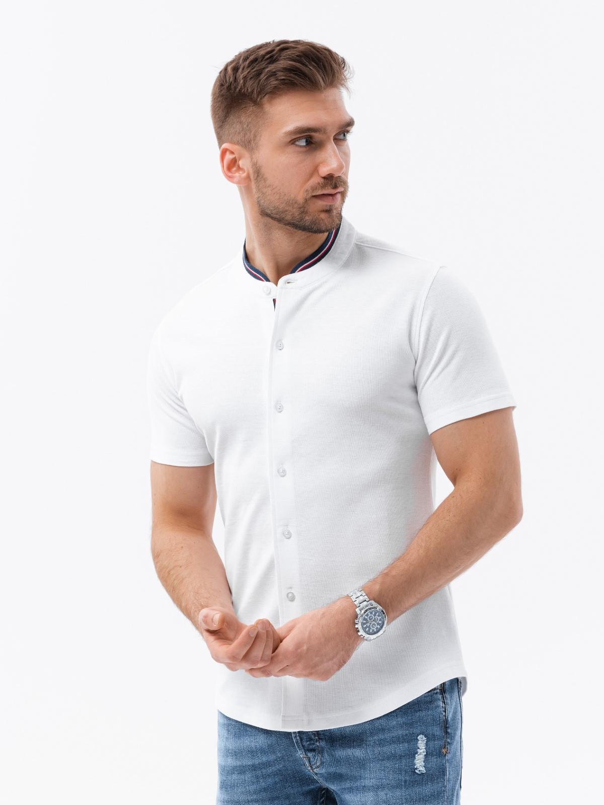 Levně Pánská košile s krátkým rukávem K543 - bílá