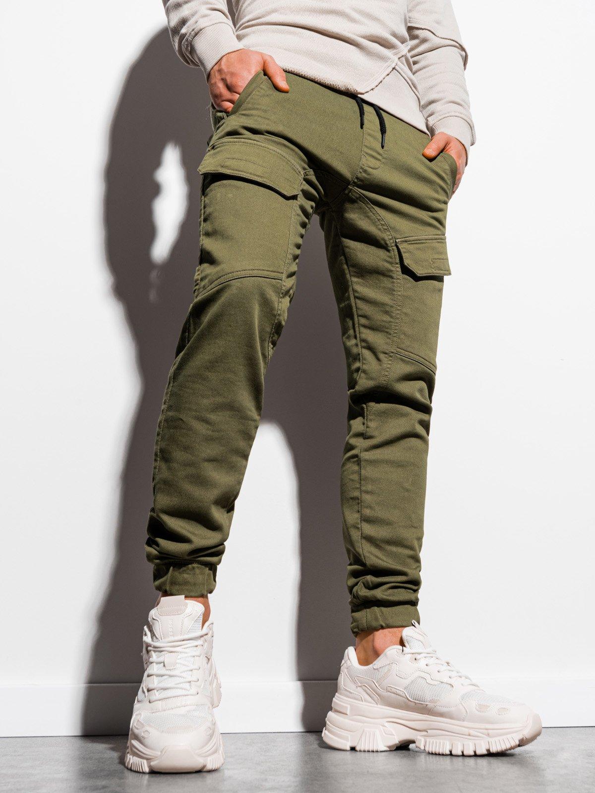Levně Pánské jogger kalhoty P925 - khaki